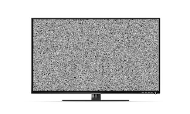 Schwarzer fernsehflachbildschirmstand mit den weißen geräuschen lokalisiert Premium Fotos
