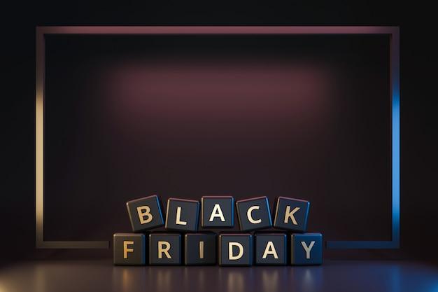 Schwarzer freitag-würfel mit danksagung und weihnachten auf dunklem neonlichtrahmen. rabatt und sonderangebot zum verkauf urlaub. realistische 3d-render. Premium Fotos
