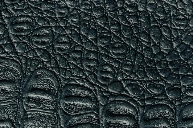 Schwarzer ledertexturhintergrund, nahaufnahme. dunkelgraue reptilienhaut, makro. struktur von reptilien textil. Premium Fotos