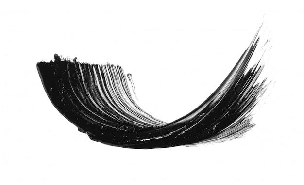 Schwarzer mascara-pinselstrich-abstrich isoliert Premium Fotos