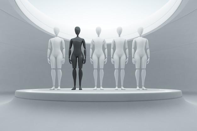 Schwarzer roboter unter weißen auf stadium im zukünftigen technologiekonzept. Premium Fotos
