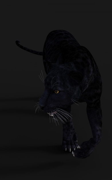 Schwarzes panther-isolat der illustrations-3d auf schwarzem Premium Fotos