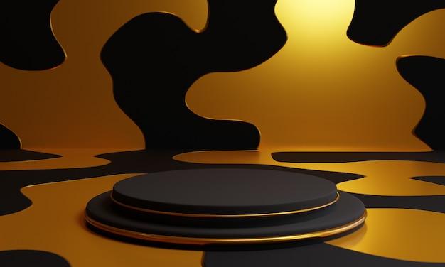 Schwarzes podium 3d auf goldenem hintergrund Premium Fotos