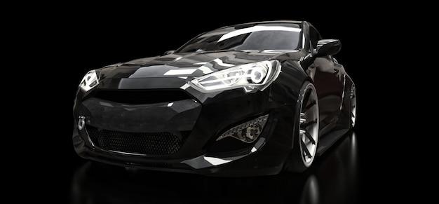Schwarzes sportwagencoupé auf einem schwarzen hintergrund. 3d-rendering. Premium Fotos
