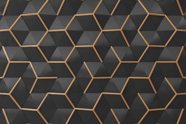 Schwarzes und wand des gold 3d für hintergrund Premium Fotos