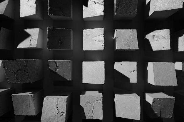 Schwarzweiss-beschaffenheitshintergrund der abstrakten quadrate Premium Fotos