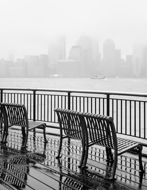 Schwarzweiss-foto von new- york cityskylinen an einem regnerischen tag Premium Fotos