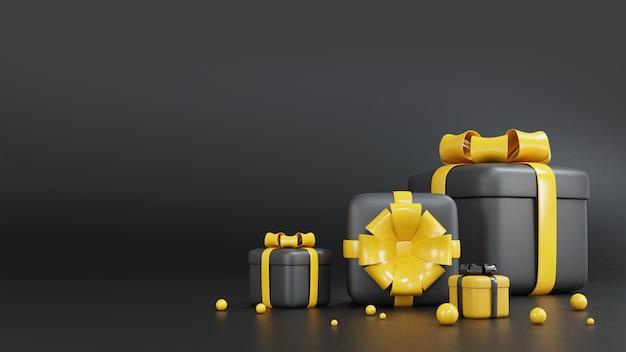 Schwarzweiss-geschenkbox des 3d-renderns zum geburtstag Premium Fotos