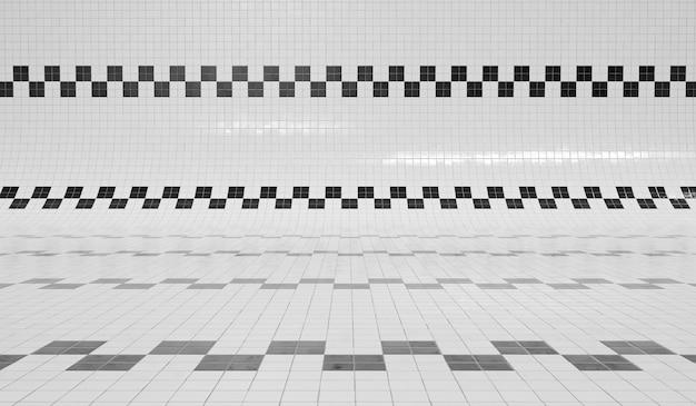 Schwarzweiss-quadratfliesenpool 3d rendern Premium Fotos