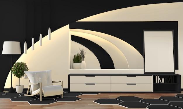 Schwarzweiss-wohnzimmer der modernen zenart. Premium Fotos