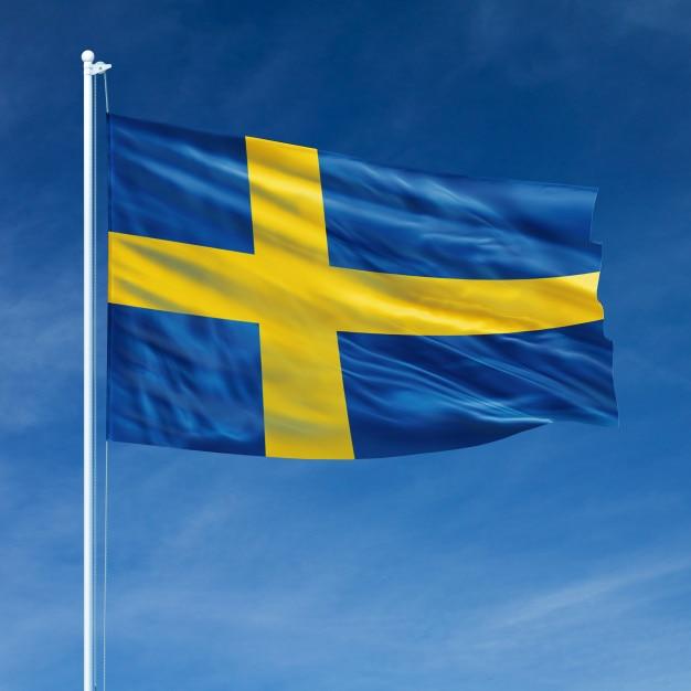 Schweden flagge fliegen Premium Fotos