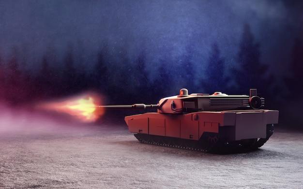 Schwerer panzer in der schlacht. Premium Fotos