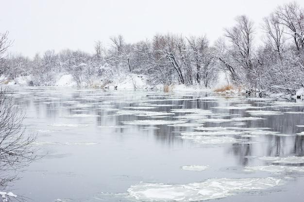 Schwimmender großvater auf dem winterfluss, winterlandschaft, frühjahrsfluten Premium Fotos