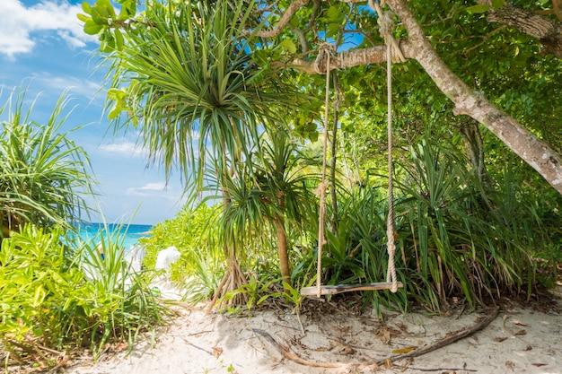 Schwingen sie mit blauem himmel und wolkenhintergrund des baums, blauem meer und weißem sandstrand auf similan-insel, Premium Fotos