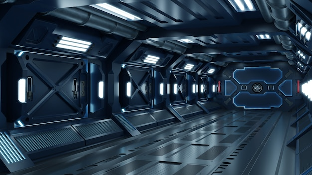Sci-fi-raumschiffkorridor Premium Fotos