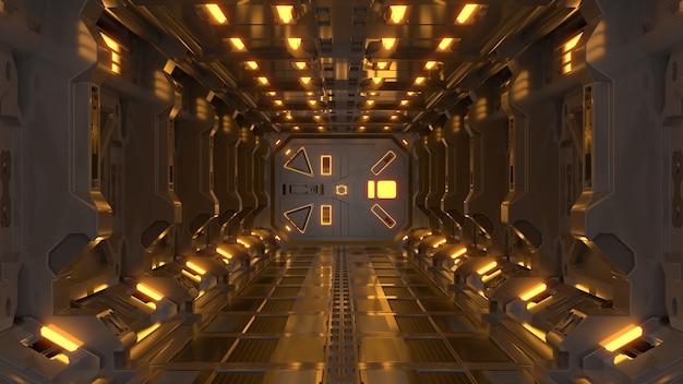 Science background fiction innen rendering science-fiction raumschiff korridore gelbes licht. Premium Fotos