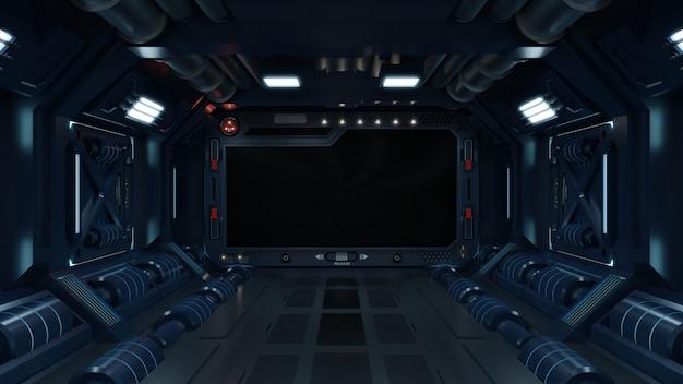 Science background fiction innenraum sci-fi raumschiff korridore blau. Premium Fotos