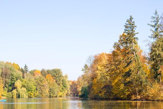 See und bäume im herbstpark Premium Fotos