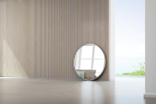 Seeansichtwohnzimmer des luxussommerstrandhauses mit glasfenster und konkretem boden. Premium Fotos