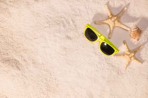 Seestern sonnenbrille und schalentiere am strand Kostenlose Fotos