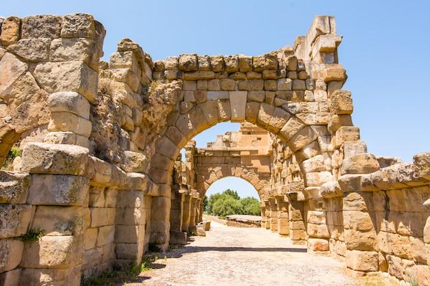 Sehen sie alte römische stadt von tindarys, sizilien an Premium Fotos