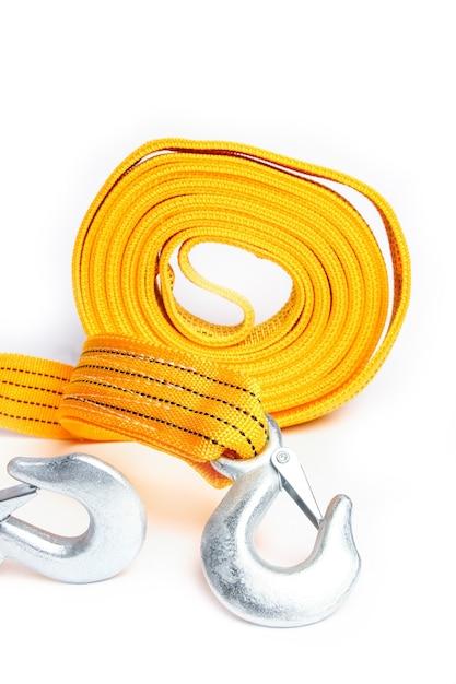 Seil abschleppseil für autos auf einem weißen hintergrund Premium Fotos
