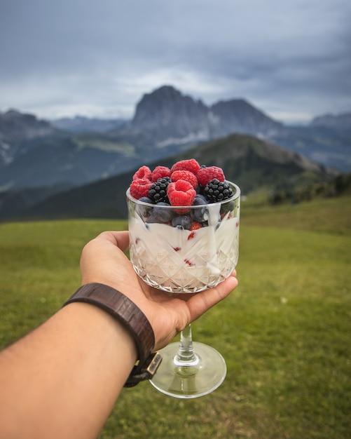 Selektiver fokusschuss von köstlichen frischen beeren mit milch mit einem unscharfen hintergrund Kostenlose Fotos