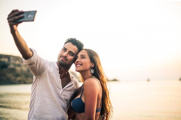 Selfie im urlaub Premium Fotos