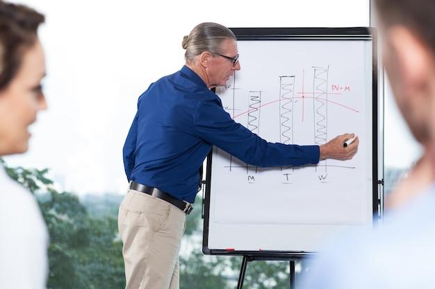 Senior-unternehmer präsentieren chart kollegen Kostenlose Fotos