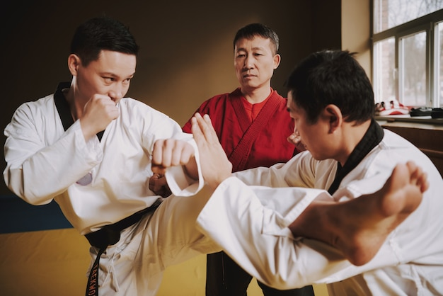Sensei bringt zwei studenten der kampfkunst bei, wie man kämpft. Premium Fotos