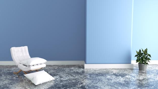 Sessel im wohnzimmer, blaue wände. 3d-rendering Premium Fotos