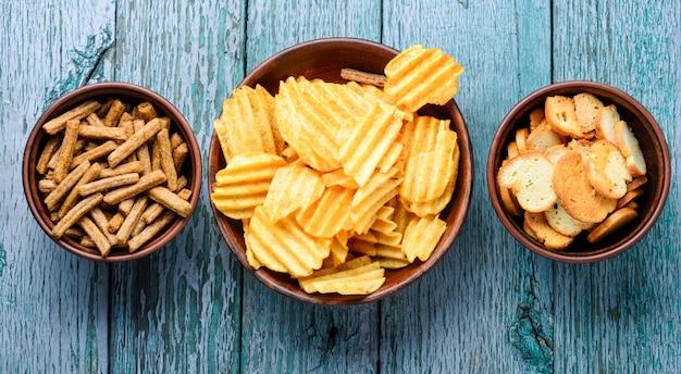 Set kartoffelchips Premium Fotos