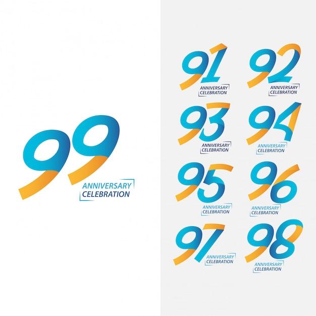 Set zum 99-jährigen jubiläum Premium Fotos