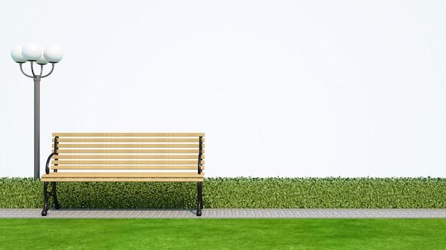Setzen sie im park mit weißem hintergrund - wiedergabe 3d auf die bank Premium Fotos