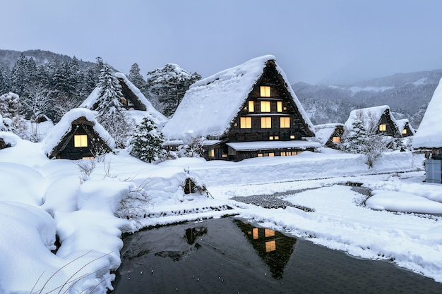 Shirakawago-dorf im winter, japan. Kostenlose Fotos