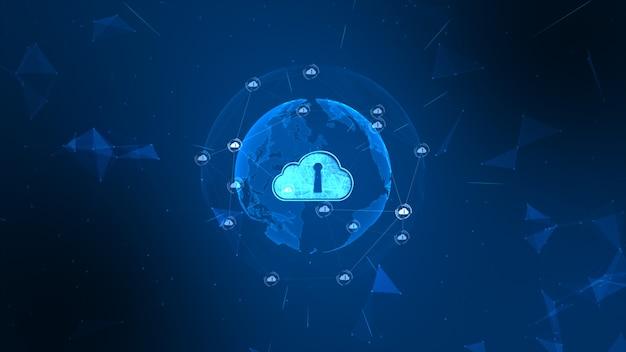 Sicheres globales netzwerk. cyber-sicherheitskonzept der digitalen wolke rechnend. erdelement von der nasa eingerichtet Premium Fotos