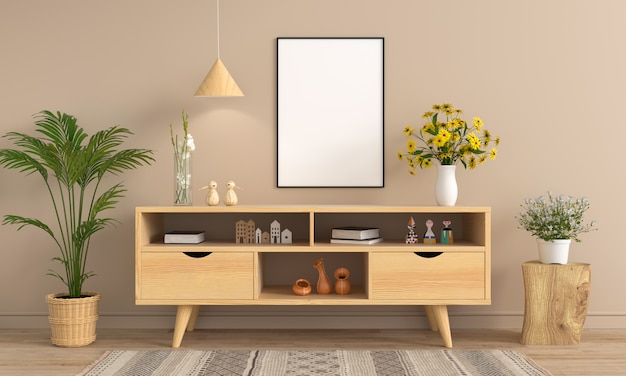 Sideboard und leerer fotorahmen Premium Fotos