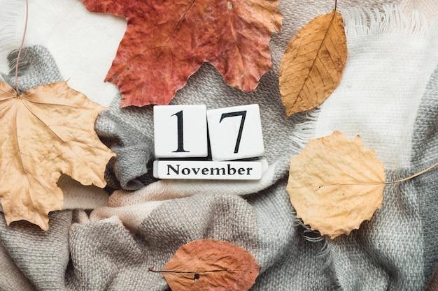 Siebzehnter tag des herbstmonatskalenders november. Premium Fotos