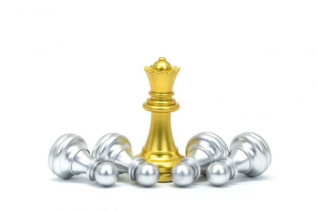Silber- und goldschachmann lokalisiert auf weiß Premium Fotos
