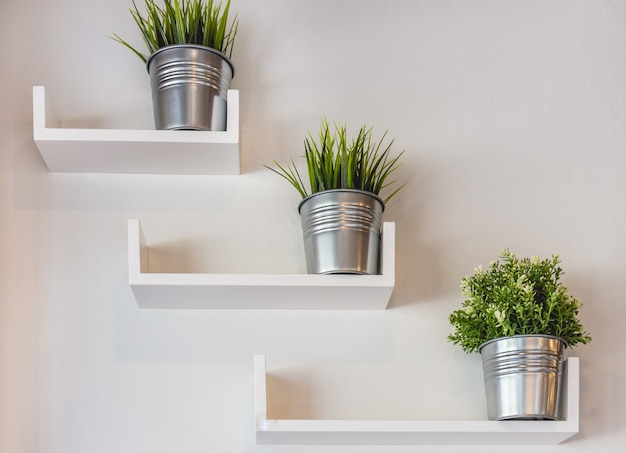 Silberne topfpflanzen auf weißer wand Premium Fotos