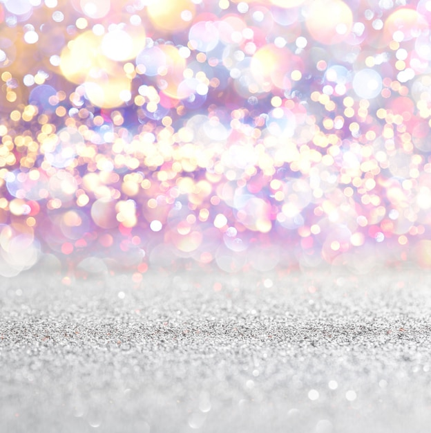 Silberne und weiße funkelnweinlese beleuchtet hintergrund. defokussiert Premium Fotos