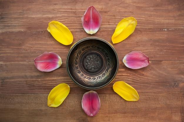 Sintulip-blumenblatthintergrund in der draufsicht Premium Fotos