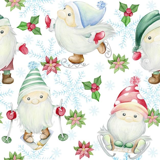 Skandinavische trolle, zwerge. nahtloses muster der aquarellillustration. weihnachten illustration Premium Fotos
