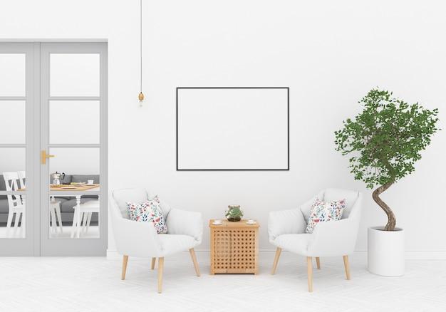 Skandinavischer innenraum mit horizontalem rahmen Premium Fotos
