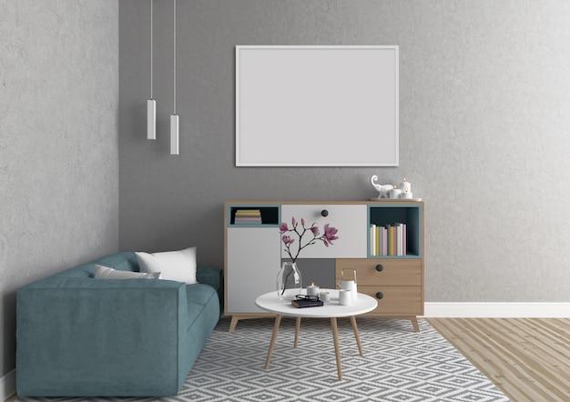 Skandinavischer innenraum mit weißem horizontalem rahmen Premium Fotos