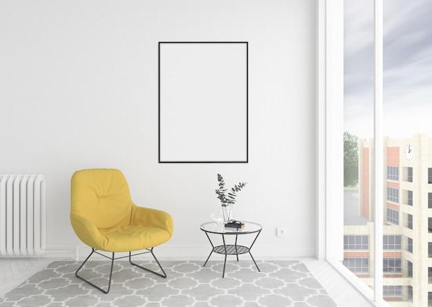Skandinavischer innenwarteraum mit leerem leerem fotorahmen oder grafikrahmen Premium Fotos