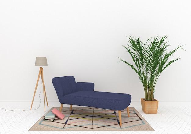 Skandinavischer loungebereich mit leerer wand Premium Fotos