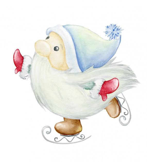 Skandinavischer troll, zwerg. skaten. aquarellillustration, weihnachtsillustration. Premium Fotos