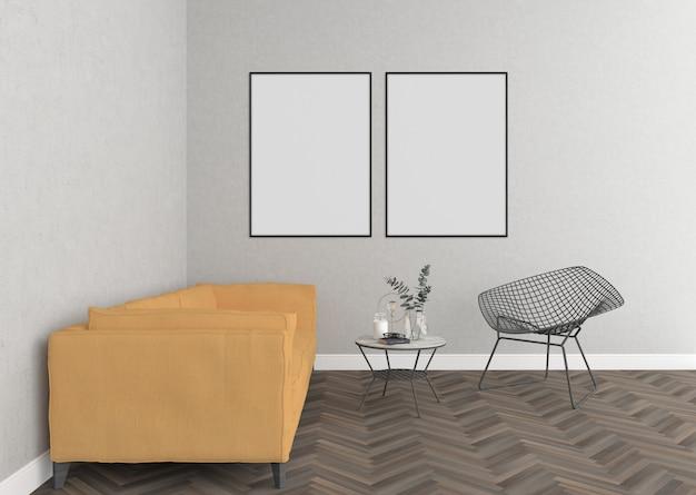 Skandinavisches wohnzimmer mit leeren doppelten feldern Premium Fotos