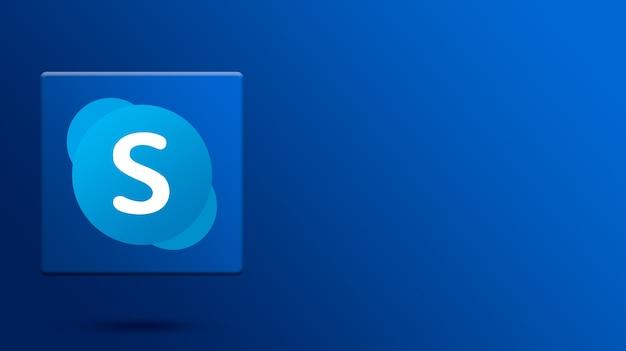 Skype-logo auf 3d-plattform Premium Fotos